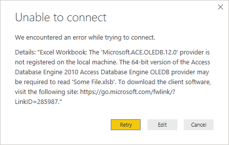 "We encountered an error while trying to connect. Details: ""Excel Workbook: the 'Microsoft.ACE.OLEDB.12.0' provider is not registered on the local machine. The 64-bit bersion of the Access Database Engine 2010 Access Database Engine OLEDB provider may be required to read."