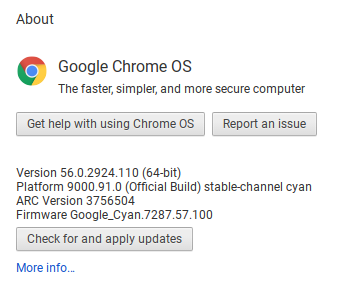 ChromeOS version 56, installed on our Asus Chromebook when we received it.